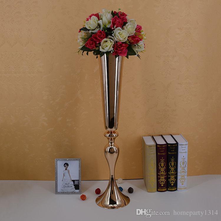 2019 Real Oro Plata Tall grande del florero tabla de la boda decoración de las piezas centrales del partido Camino plomo flor titular flor del metal del estante para el evento de bricolaje