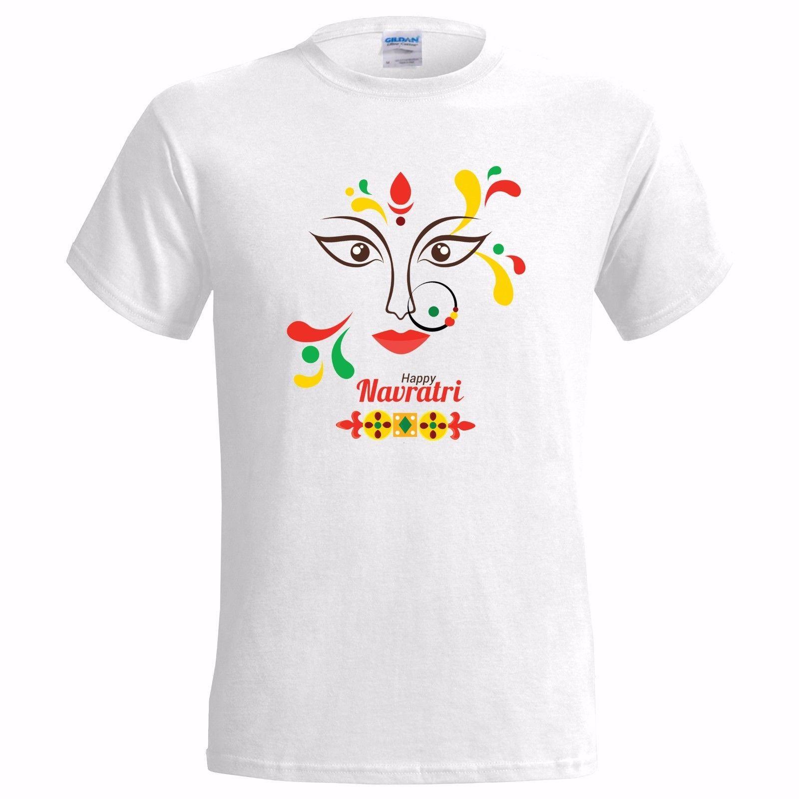HAPPY NAVRATRI MENS T SHIRT MAA DURGA HINDU HINDUISM FESTIVAL HINDI INDIAN  Designer White T Shirt Printed T Shirts Funny From Thatsmyshirt f46b895de