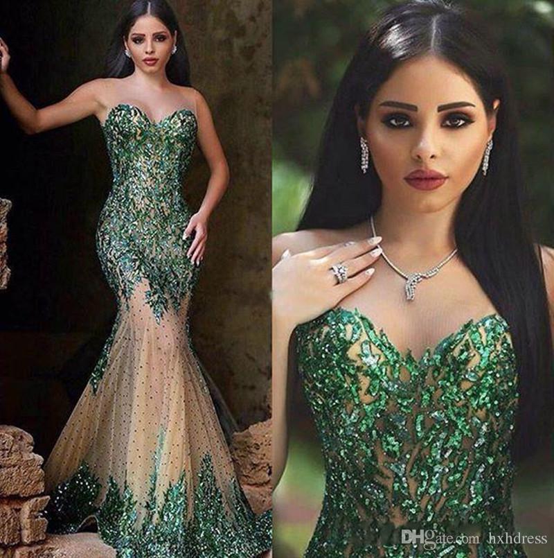 2018 nuovo smeraldo verde caldo paillettes sirena abiti da sera sweetheart cerniera posteriore in rilievo vedere attraverso la gonna cappella treno arabo abiti da ballo
