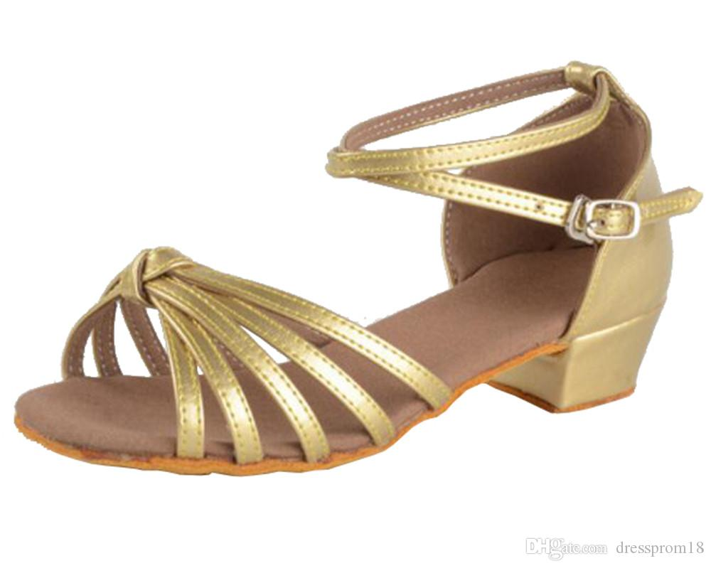 e862704b41 Girls Suede Sole Knot Leather Striped Latin Ballroom Dance Shoes Kids  Peep-toe Classic Low Heeled Tango Salsa Practice Dancing Sandals