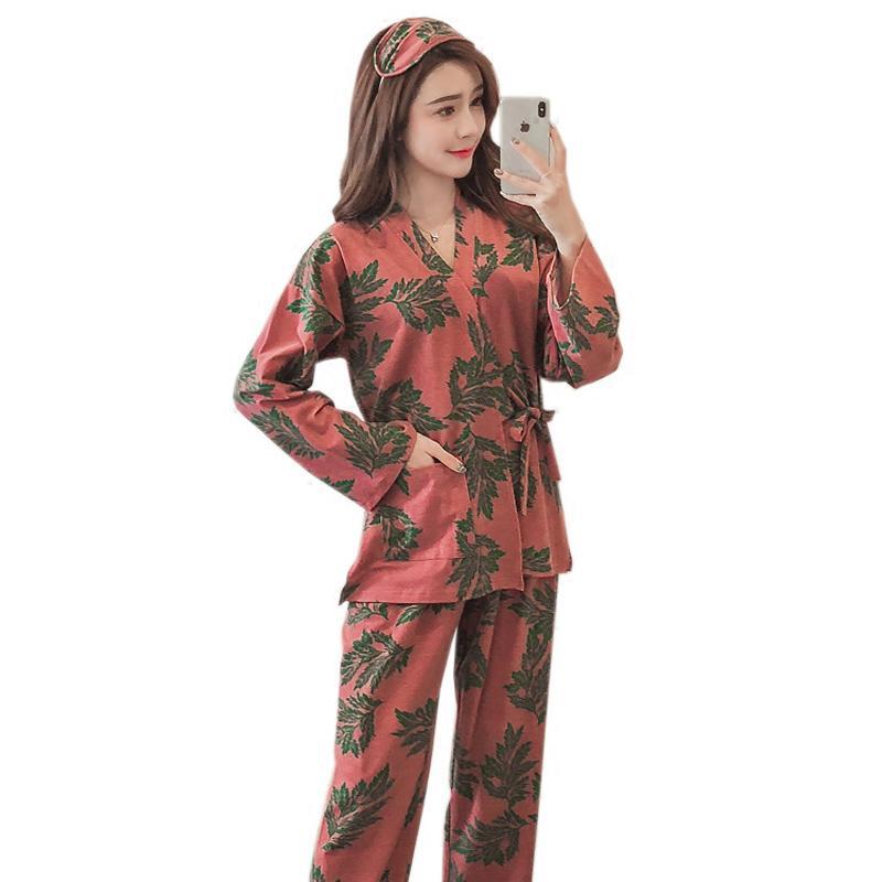 b566936eca Compre Kimono De Algodón Conjunto De Pijamas De Mujer Impresión De Hojas  Pantalones Femeninos + Vestido De Noche Otoño Invierno Ropa De Hogar Ropa  Traje De ...