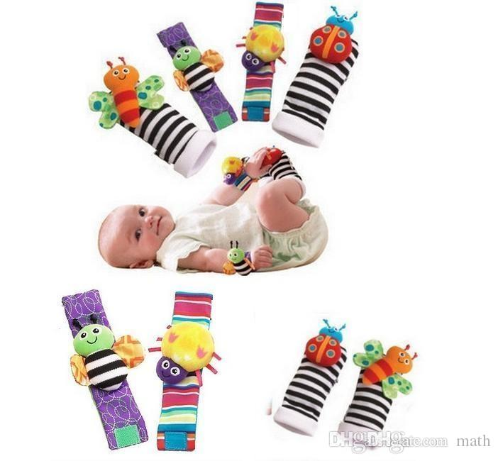 2018 sozzy Wrist rattle & foot finder Baby toys Baby Rattle Socks Lamaze Plush Wrist Rattle+Foot baby Socks 1000pcs
