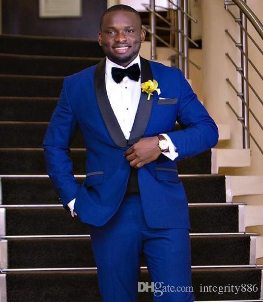 New Designe Um Botão Azul Royal Do Noivo Smoking Padrinhos Groomsmen Homens Ternos Formais de Negócios Prom Terno Personalizar Jaqueta + Calça + Gravata NÃO; 55