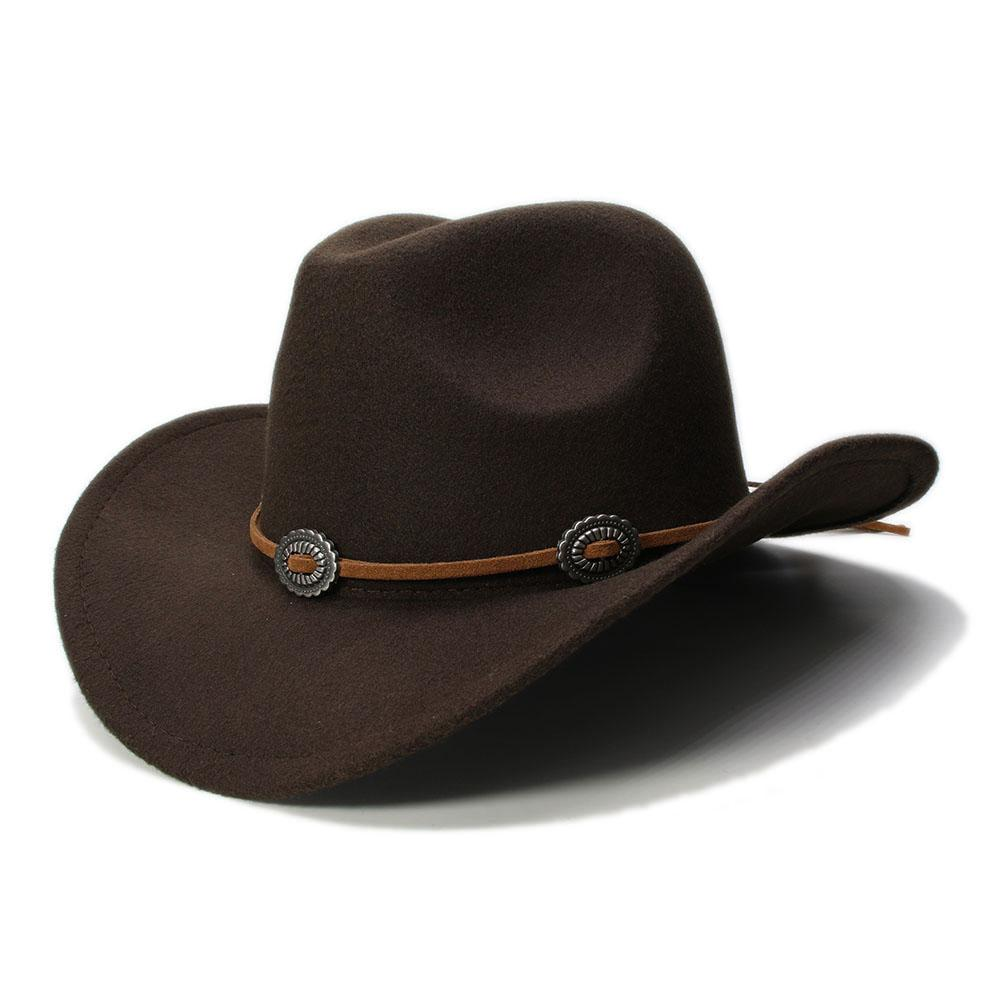 Vintage Unisex Wool Blend Western Cowboy Fedora Hat Gangster Wide Brim Sombrero Godfather Cap Church Caps Cowgirl Leather Rope with Metal