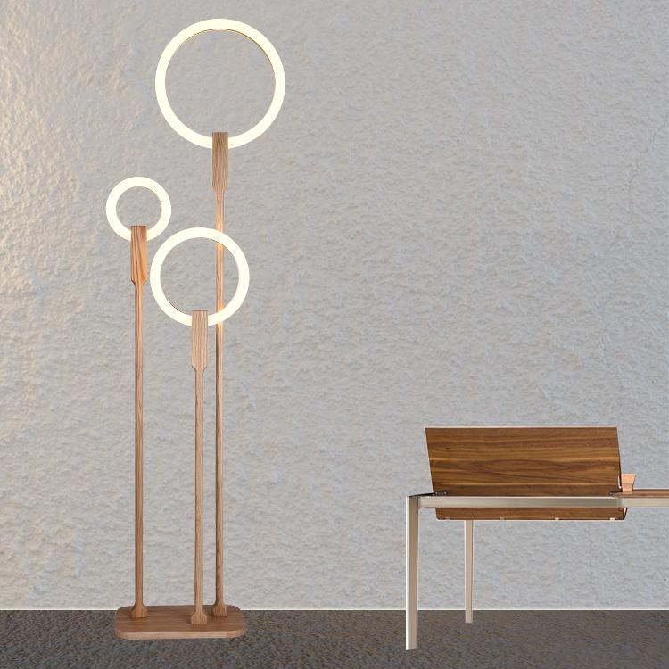 2019 Modern Led Living Room Floor Lamp Wooden Luminaire Bedroom