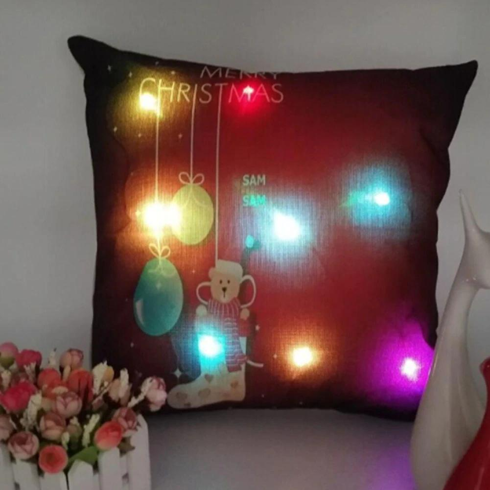 2017 New Unique Linen LED Merry Christmas Reindeer Cushion Cover Home ushion Cover Pillowcase