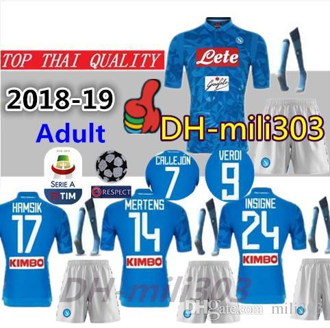 1922ad974 New 18 19 Napoli Soccer Jersey Kits 2018 2019 Naples HAMSIK ZIELINSKI  INSIGNE MERTENS CALLEJON PLAYER Home Football Shirts Kit Best Quality UK 2019  From ...