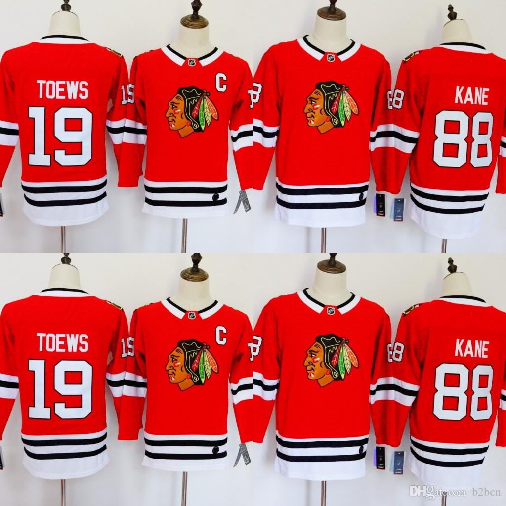 4a1ebaf312a 2019 Chicago Blackhawks Jerseys 88 Patrick Kane Jerseys 19 Jonathan Toews  Blank Home Red Kids Ice Hockey Jersey Men Women Youth Ladies Boys Girls  From B2bcn ...