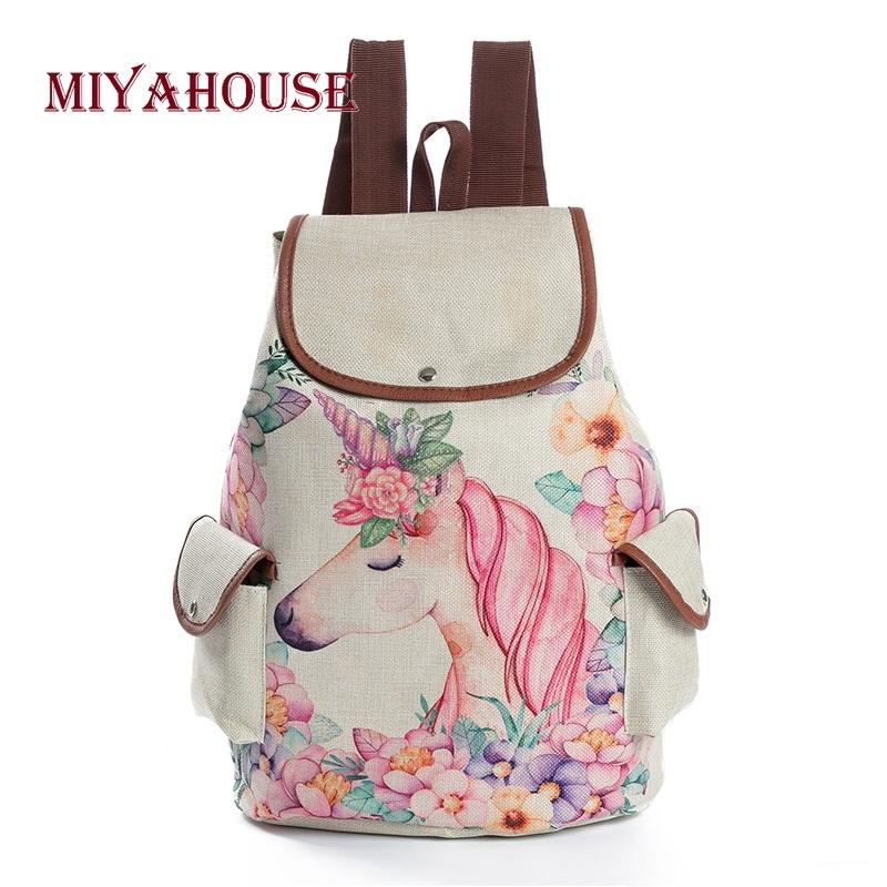 a17bdc27d2 2019 FashionMiyahouse Fresh Design Cute Unicorn Printing Linen Backpacks  Teenage Girls Cartoon Shoulder Schoolbags Female Fashion Travel Bag Justice  ...