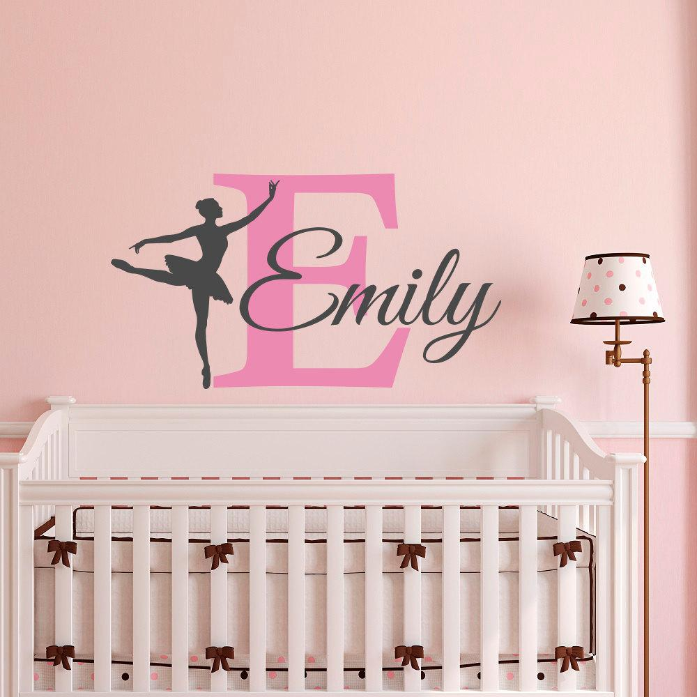 Removable Ballerina Wall Decal Girl Personalized Name Ballet Dance Vinyl  Wall Sticker for living room Bedroom home decoration