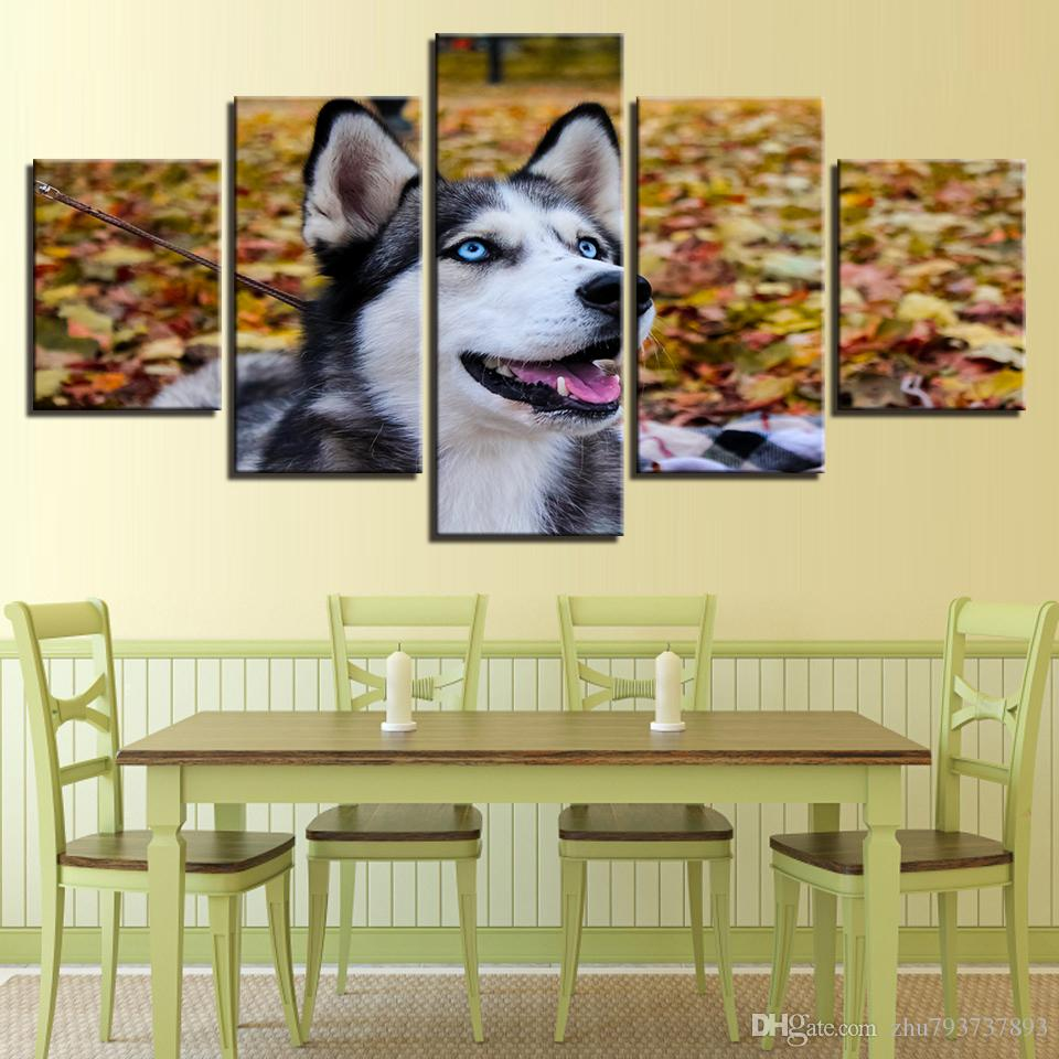 2018 Canvas Hd Prints Pictures Wall Art Animal Husky Pet Paintings ...