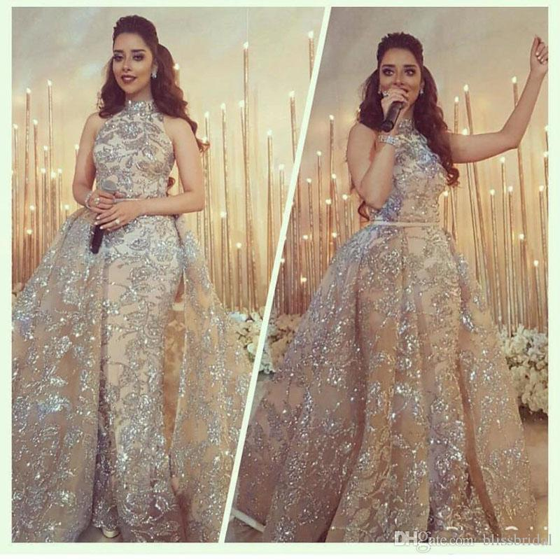 Yousef Aljasmi Modest High Neck Mermaid Prom Dresses with Overskirt Sparkly Dubai Arabic Occasion Evening Wear Gowns*