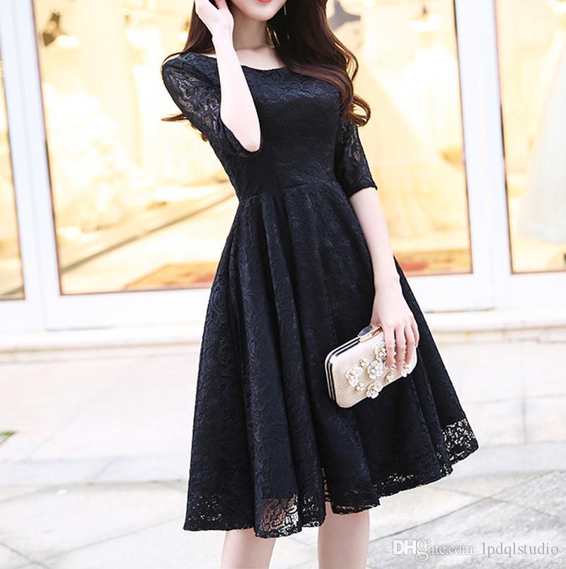 63f62b9d6c Elegant Lace Cocktail Dresses Little Black Prom Dress Knee Length Zipper  Back Cheap Red