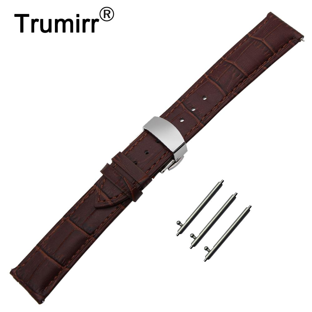 6b68f30a7 22mm Genuine Leather Watch Band Quick Release Strap For Samsung Gear S3  Classic / Frontier Butterfly Buckle Wrist Belt Bracelet Speidel Watch Bands  Watch ...