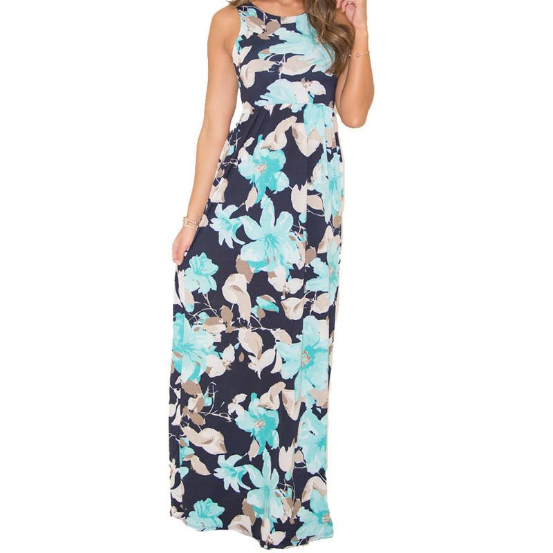 a8401dfa3e0 Bohemian Pockets Beach Sundress 2019 Women Sleeveless Summer Long Dress O  Neck Floral Printed Vest Maxi Dresses Plus Size GV198 Long Dress Striped  Light ...