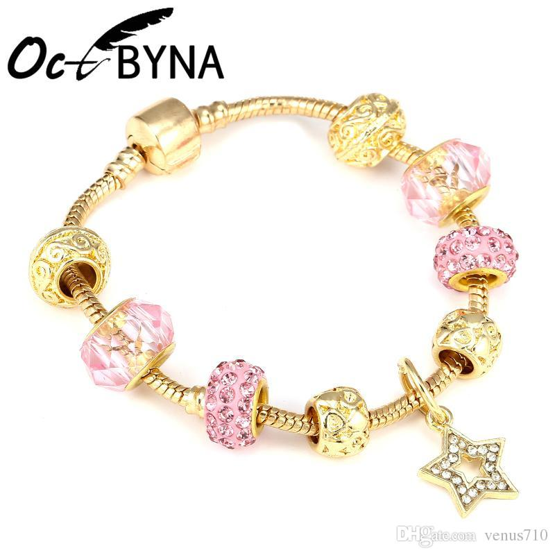 32c7a9670 Octbyna Dropship Gold Color Heart Charm Pink Crystal Star Pandora Bracelets  For Women Pulseras Bracelet Pulseira Feminina Gifts Charms For Bracelet  Charm ...