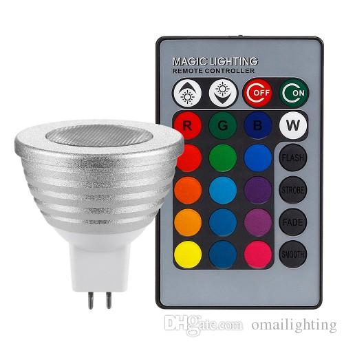 2-Pack 3W Multi-Color MR16 GU5.3 LED Bulbs, 12V Dimmable RGB Spotlight Bulb with Remote Controller, Color Changing Reflector, LED Mood Light