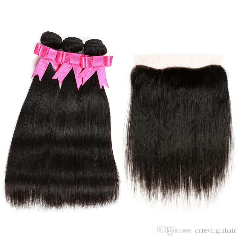 Brazilian Straight 3 Bundles with 13x4 Lace Frontal Natural Hairline Unprocessed Brazilian Virgin Human Hair Weaves Extension Natural Color