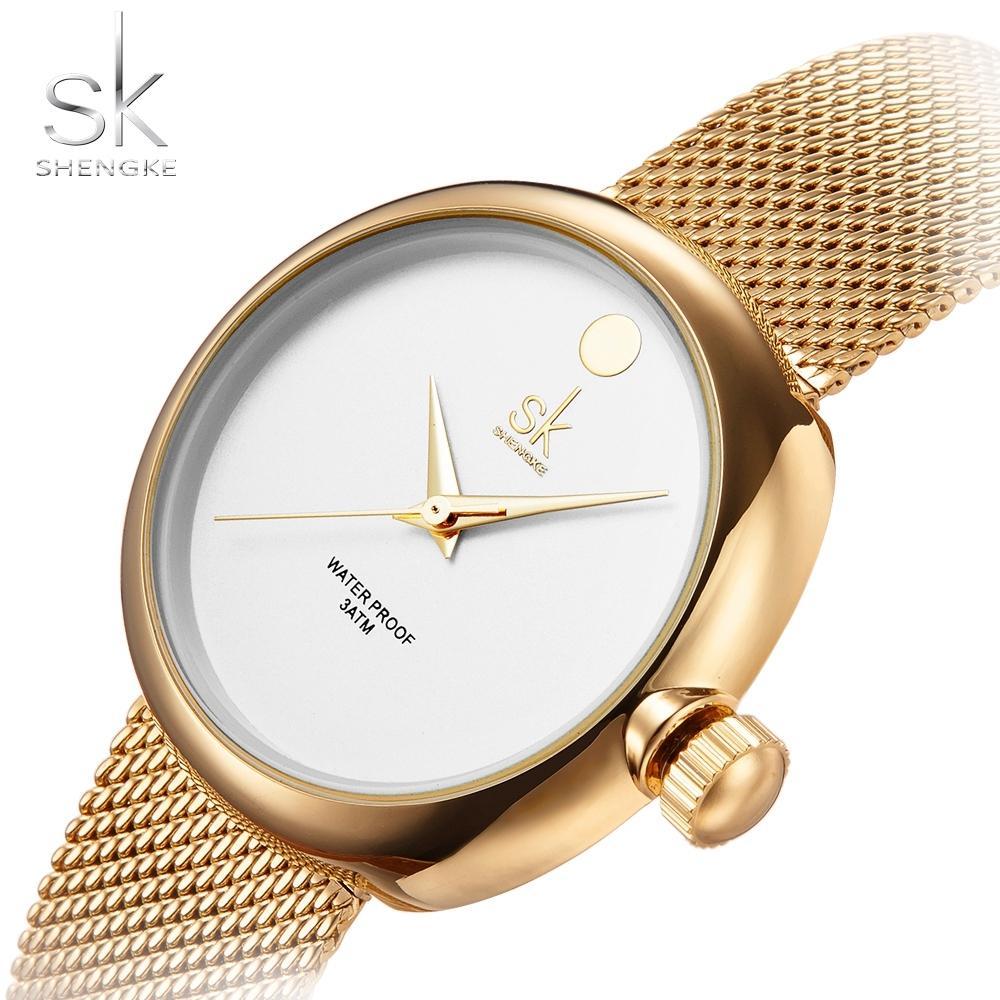 06b9580673d6 Compre SK Top Marca De Moda De Lujo Para Mujer Relojes Reloj Mujer Correa De  Malla De Acero Rosa De Oro Pulsera Reloj De Cuarzo Reloj Mujer 2017 Nueva  ...