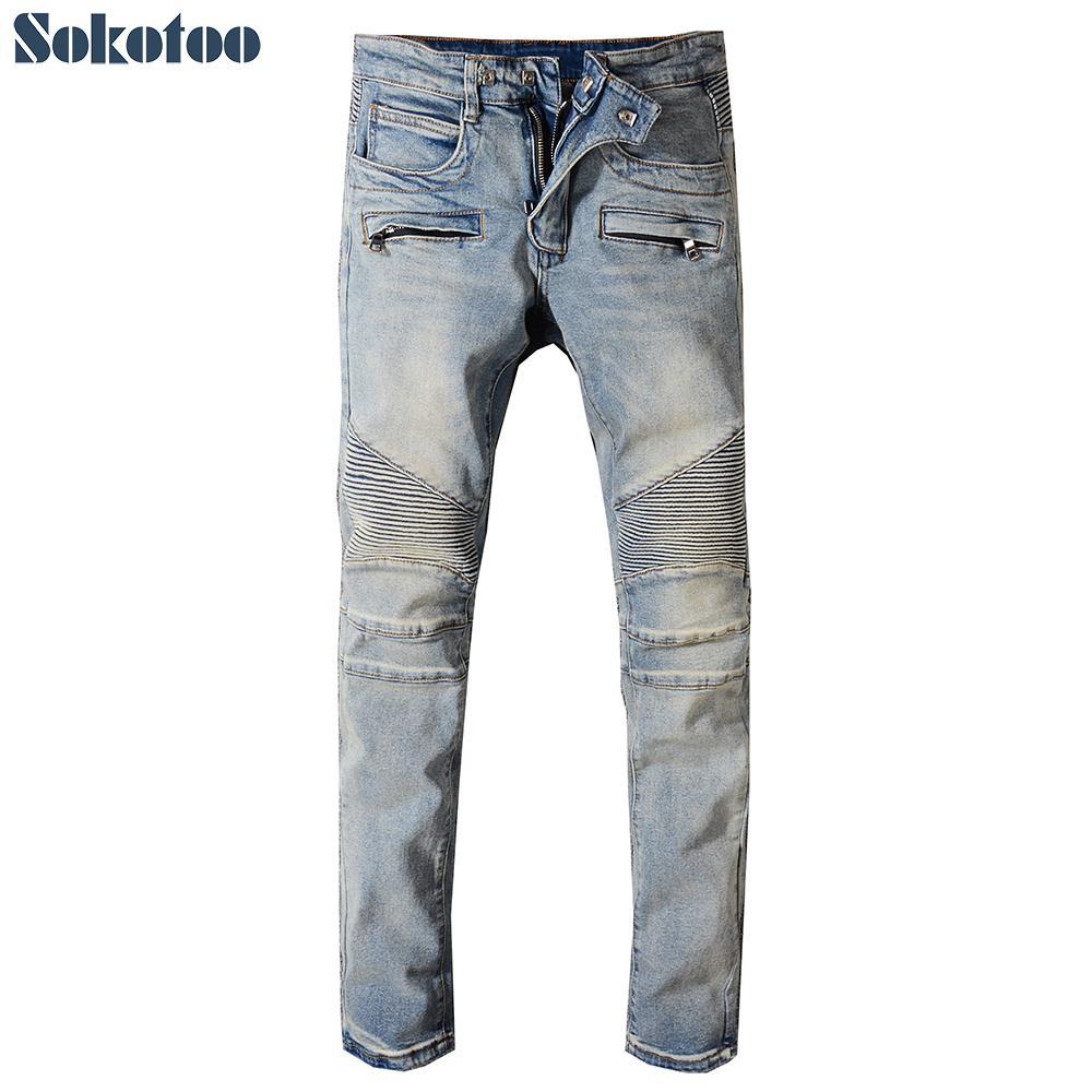 54d0343f437 2019 Sokotoo Men S Classic Vintage Blue Stretch Denim Biker Jeans For Moto  Plus Size Patchwork Slim Fit Pants From Cravat