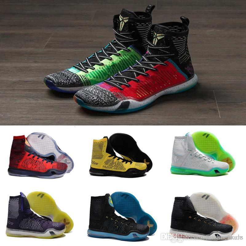 hot sale kobe 10 high multicolor weaving men s basketball shoes for kb 10s elite wolf grey green usa aaa quality sports sneakers east bay shoes shoes