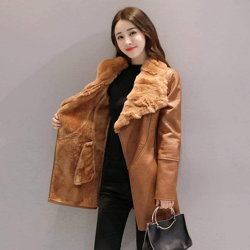 f1b58776a3d 2019 2018 Women Winter Real Rabbit Fur Collar PU Leather Belt Jackets  Fleece Lining Medium Long Outerwear Slim Coat M 4XL W1523 From Wulana, ...