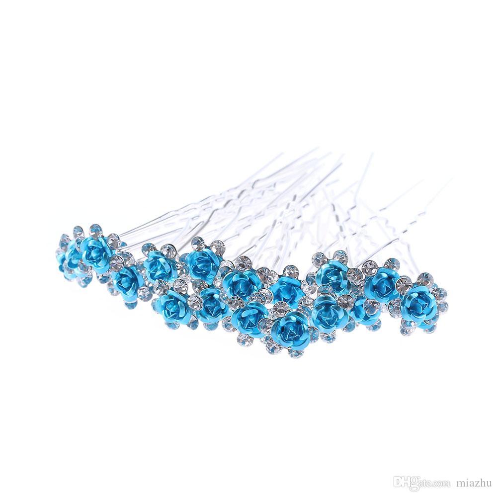 Women Wedding Bridal Hairpins Crystal Rhinestone Rose Flower Hairpin Hair Clips Hair styling Accessories High Quality