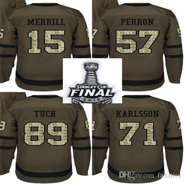 d8f4ed5a6 2018 Stanley Cup Final Patch Men Golden Knights Green Salute To Service Jon  Merrill David Perron Alex Tuch William Karlsson Hockey Jersey UK 2019 From  ...