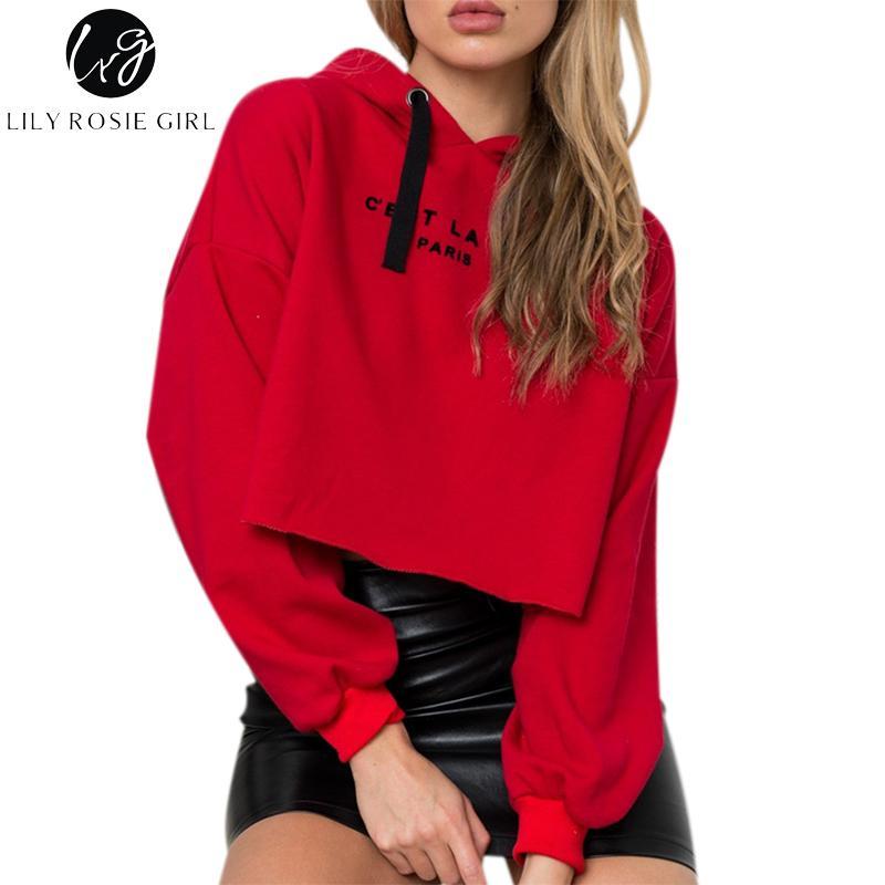 Großhandel Lily Rosie Mädchen Red Letter Pullover Frauen Ernte Sweatshirt  Herbst Winter Langarm Kurze Hoodies Lässige Streetwear Jumper Von Maoku, ... acacef1fba