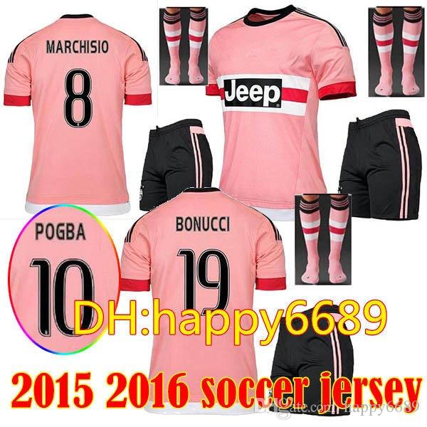 806b7cc42 2019 2015 2016 Men Kit Pink 15 16 Soccer Jersey + Socks Men Set DYBALA  MATUIDI Third 17 18 HIGUAIN D. Costa MANDZUKIC Away THRID Football SHIRTS  From ...