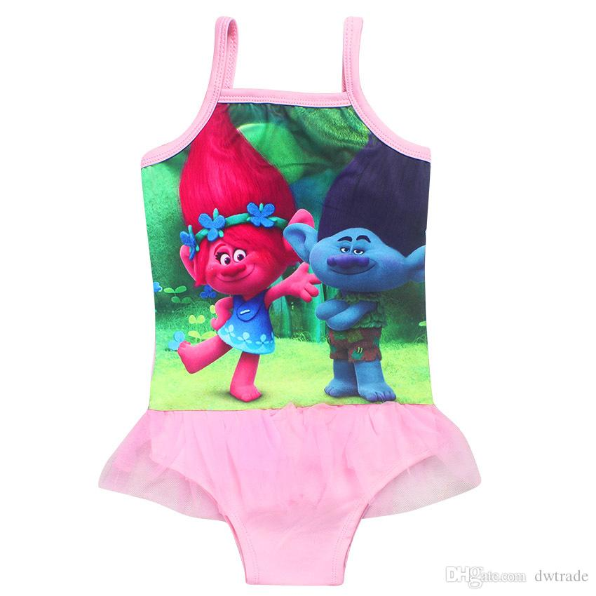 Magic Elf Swimwears Trolls Girls Movie Print One-Piece Tutu Style Pink Summer Swimsuits Children's Beachwear Kids Clothes Baby Swimsuit