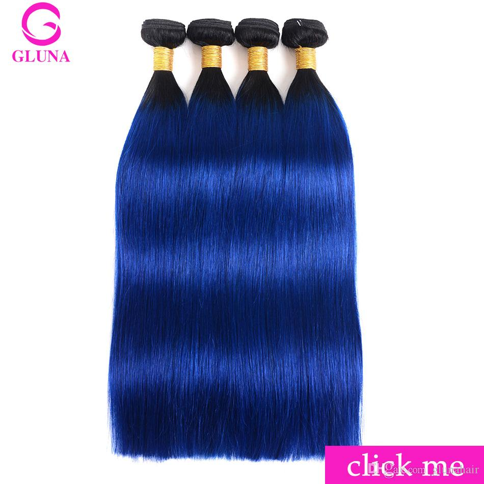 Gluna 1b Black And Blue Ombre Peruvian Hair Weave Straight Human