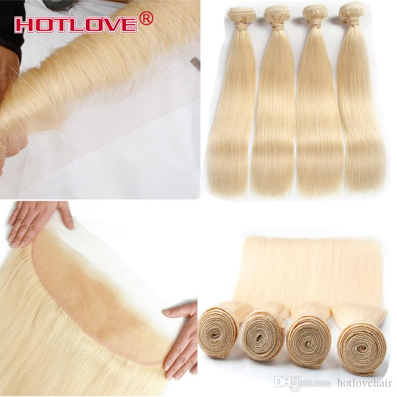 HOTLOVE 613 Hair Straight 4 Bundle with Lace Frontal Closure 13*4 inch Brazilian Virgin Straight 613 Light Blonde Human Hair Extensions