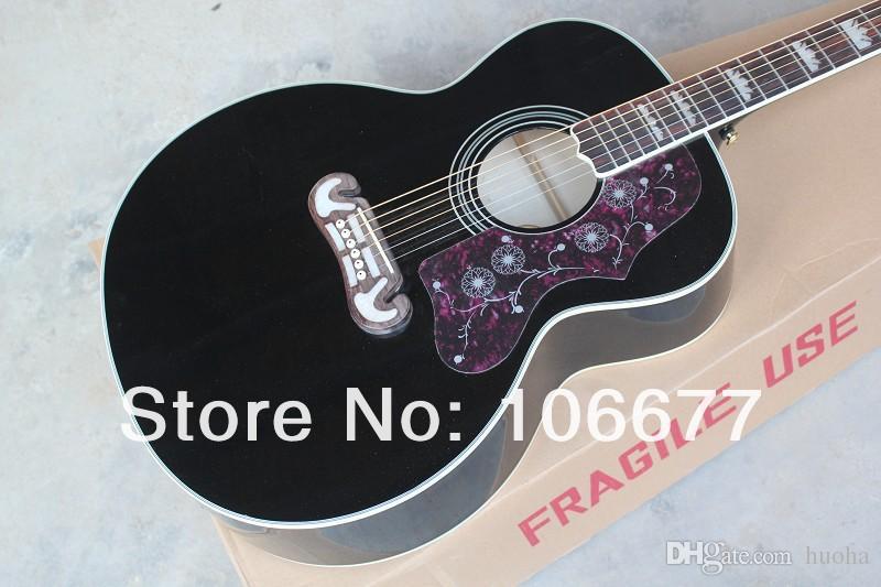 Livraison gratuite + haute qualité + usine guitare G SJ200 palissandre manche noir guitare acoustique couleur naturelle
