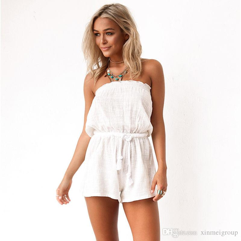 887590fc64 2019 Casual Strapless Backless White Summer Jumpsuit Short Ladies Sexy  Beach Boho Jumpsuits For Women Rompers Overalls Playsuits W960014 From  Xinmeigroup