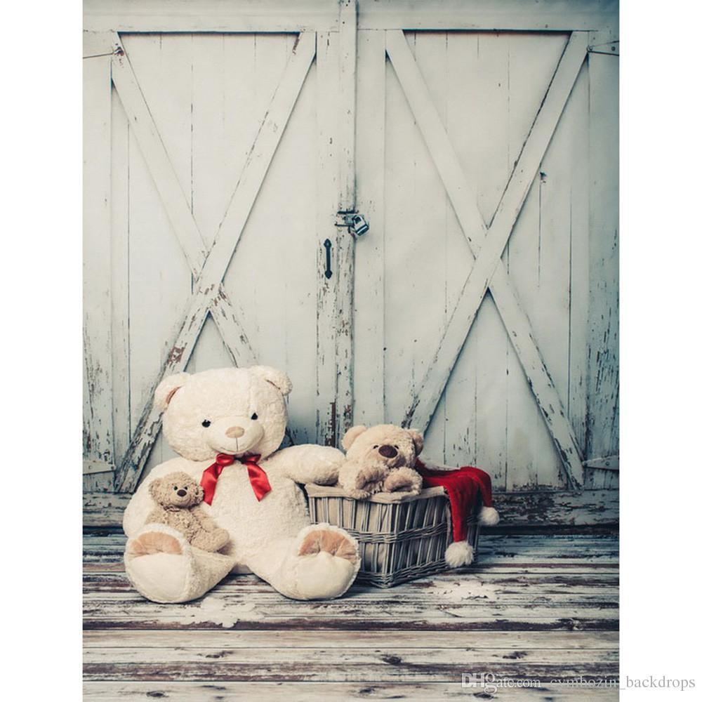 2019 vintage wooden door photo backdrop vinyl printed toy bear basket baby newborn photography props kids children background wood floor from