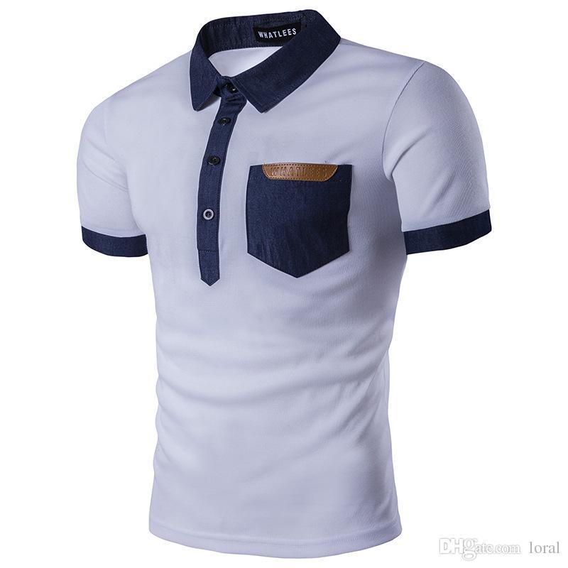 Mens clothing cor sólida camisas de manga curta tops stand collar camisa masculina com bolso s-2xl