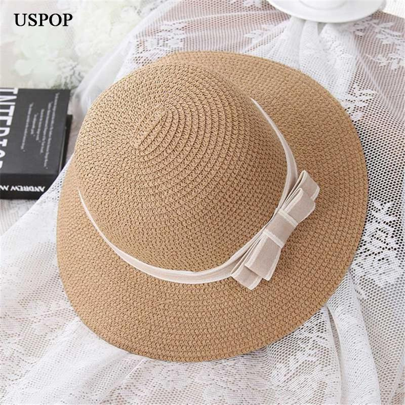 61a68db083f3e USPOP 2018 HOT Fashion Woman Summer Hats Female Straw Hat Casual Mom Kid Wide  Brim Beach Hat Cute Children Bowknot Sun Hats Black Floppy Hat Flat Bill  Hats ...