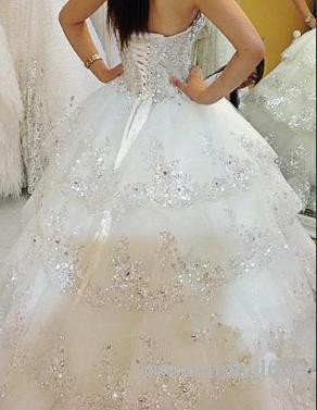2019 Shiny Sparkly Beads Crystal Wedding Dresses Ball Gown Sweetheart Princess Layered Bling Elegant Bridal Gowns Spring Gorgeous