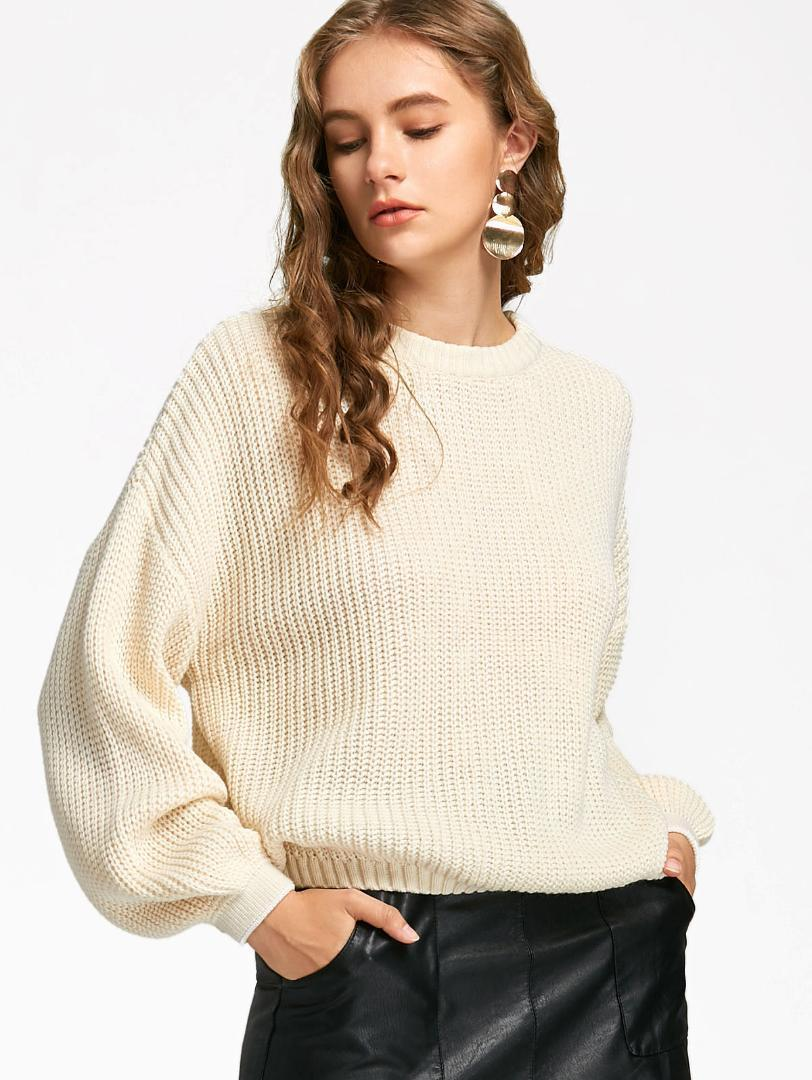 2019 Wipalo Oversized Women Sweater Lantern Sleeve Round Neck Solid Elastic  Pullovers Casual Autumn Female Knitted Jumpers Pull Femme From  Clothwelldone db1dba320