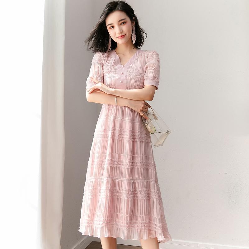 7a25fe862ef7 2018 nueva moda de verano ropa de mujer con cuello en V manga corta vestido  Puff Vintage botón color sólido vestidos de una línea de mujer