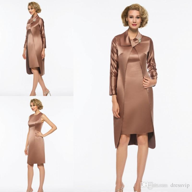 Mother Of The Bride Dresses With Jacket Brown Color Knee Length Long ...