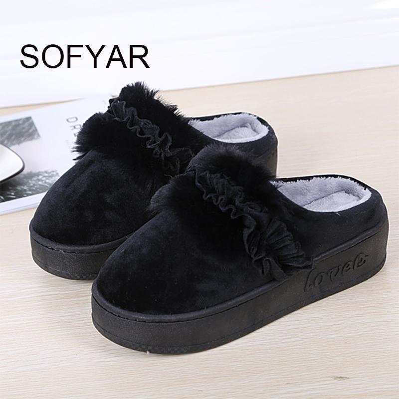 le pantofole di cotone spesse della famiglia le donne mantengono caldo il tallone di cotone del mop del panno caldo le scarpe da camera da letto domestiche belle belle scarpe di fiore della peluche