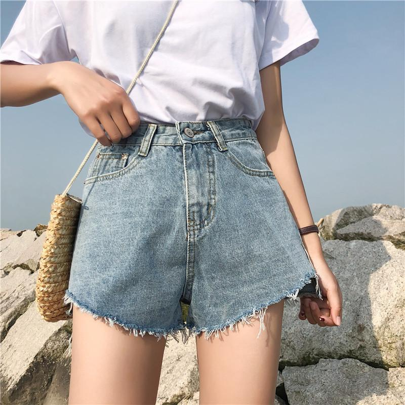 Summer Female Blue High Waist Denim Shorts Women Worn Loose ripped hole fringe Jeans Shorts Casual pocket jeans