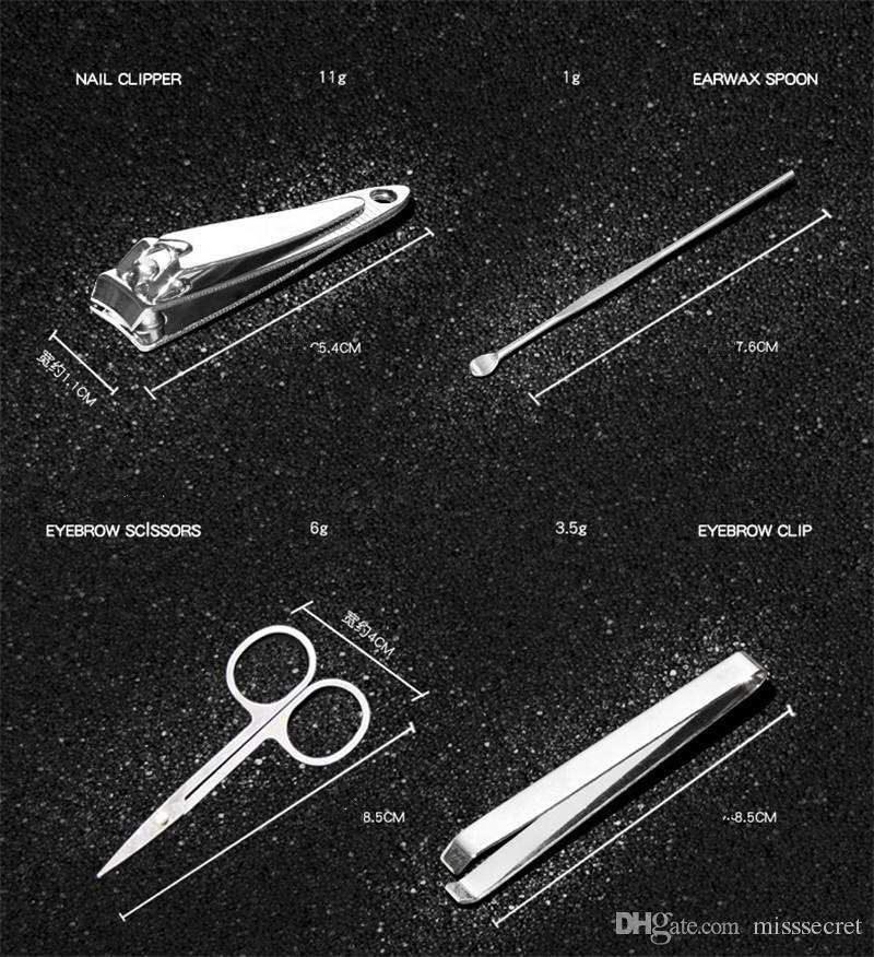 Portable Edelstahl Maniküre Set Nail Art Kits Nails Clipper Schere Augenbraue Clip Earwax Löffel Pediküre Werkzeug mit Einzelhandel Pacakge
