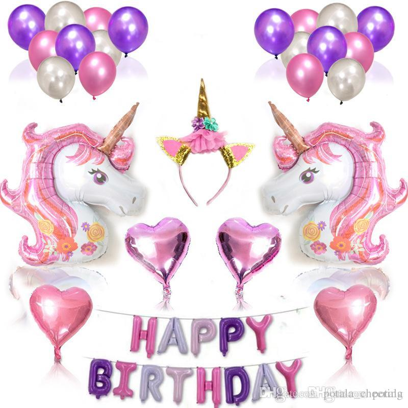 11787CM Unicorn Animals Number Foil Balloons Inflatable Digit Helium Ballons Birthday Party Wedding Decor Air Xmas Christmas Gift Kids Toys