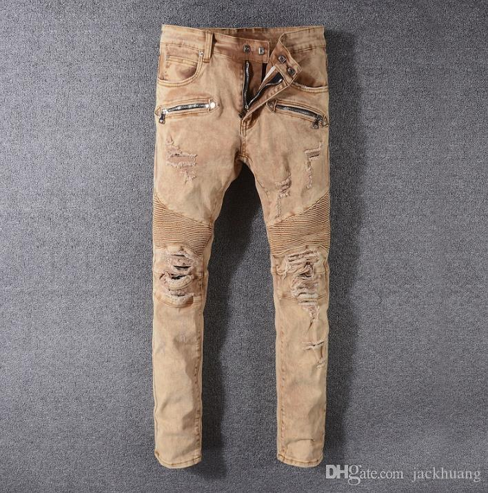 Khaki Biker Jeans Mens Distressed Embellished Ribbed Stretch Moto Pants Hole Zipper Jeans Slim Trousers Size 29-42 #999