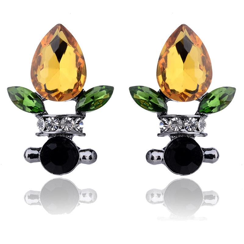 Multicolor Fashion Acrylic Opal Stone Stud Earrings Flower Design Women Crystal Rhinestone Earrings Trendy Wedding Jewelry