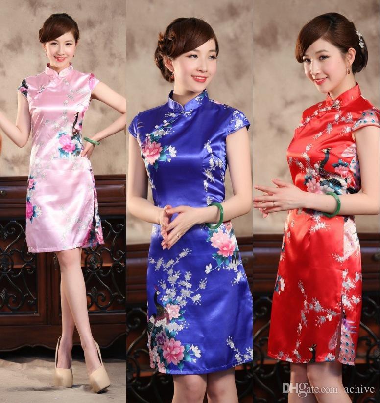 7207ca2da2c78 Promotional Retro Chinese Cheongsam Short Silk Like Satin High Neck  Sleeveless Knee Length QiPao Cheap Printed Party Dresses Bodycon Cheongsam  Chinese Dress ...