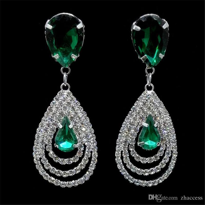 f39a1e80f Compre Brincos De Noiva Para As Mulheres Cosméticos Populares Strass Gota  De Cristal Brinco Para O Vestido De Casamento Azul Verde Moda Jóias De  Zhaccess
